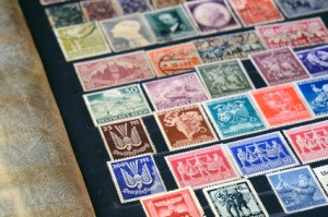 Album with old postage stamps
